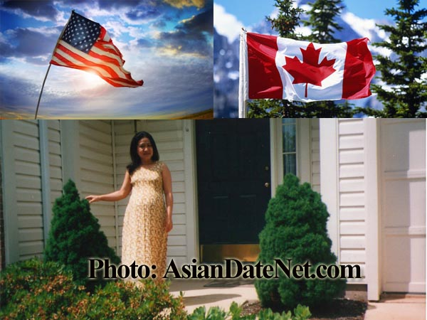 Asian woman gives birth in US and Canada