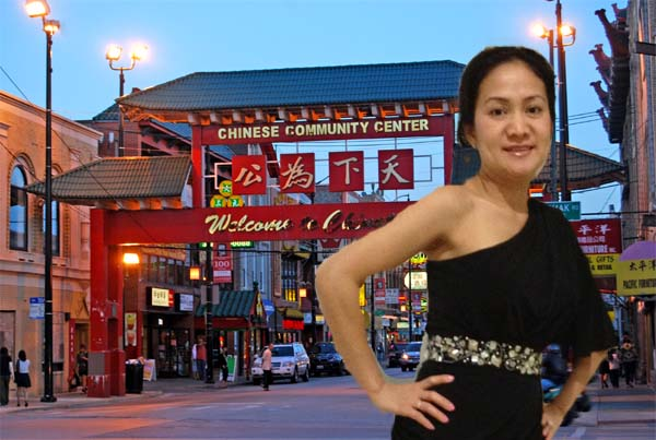 Asian woman in front of China Town in San Francisco California